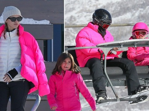 Sofia Richie is the coolest stepmum ever as she twins with Scott Disick's daughter Penelope in pink ski suits