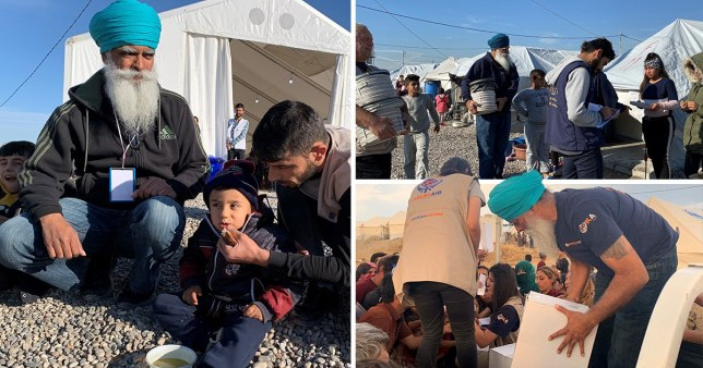 Pictures of Ravi Singh, founder of Khalsa Aid, with Kurdish refugees who fled north east Syria after Trump withdrew troops from the region