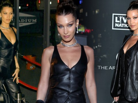 Bella Hadid brings back '90s punk in three-piece leather outfit at the Art of Elysium's Heaven Gala