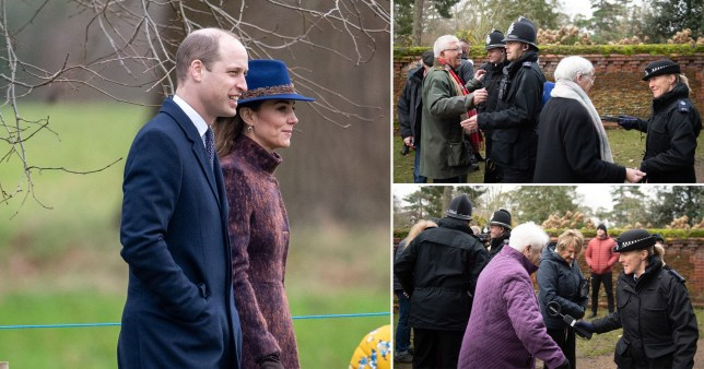 Pensioners frisked by police as William and Kate head to Sandringham service