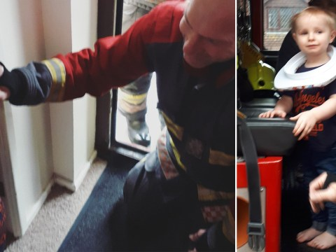 Firefighters come to the rescue of a toddler who got his head stuck in a toilet seat