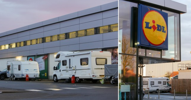 Travellers shock shoppers by pitching up in Lidl car park