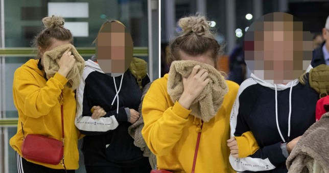 Pictures of 19-year-old British woman convicted of lying about 12 Israeli men raping her in Ayia Napa, Cyprus, at Larnaca Airport heading back to the UK after being given a suspended sentence
