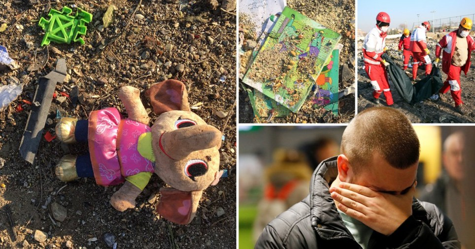 Children's toys and books among the wrecked debris of the Ukraine International Airlines plane