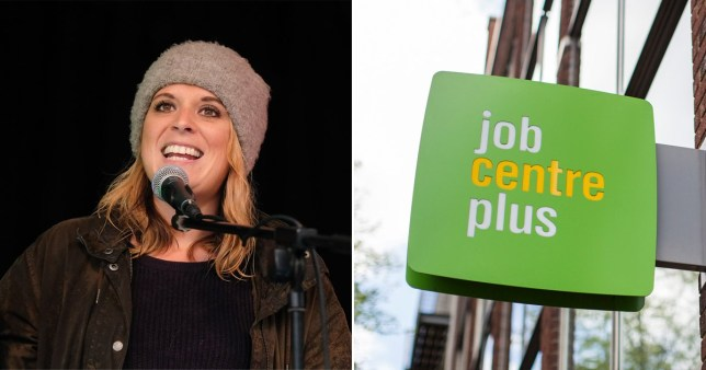 Former MP for Crewe and Nantwich Laura Smith next to picture of Job Centre