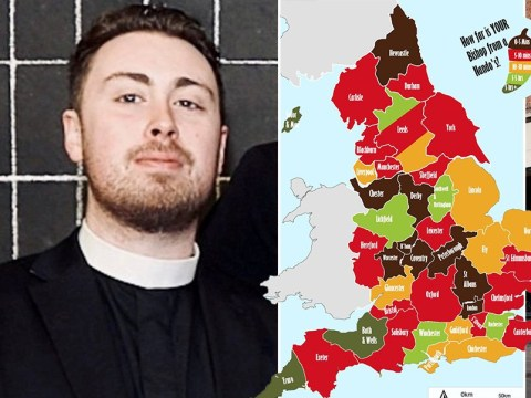 Reverend creates a map to show how far English churches are from a Nando's