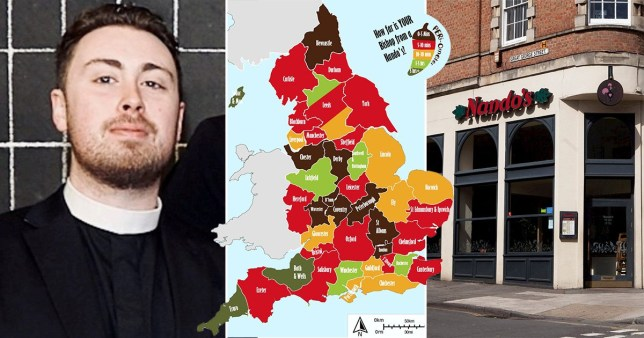 Picture of the map created by Rev Fergus Butler-Gallie of the nearest Nando's to church