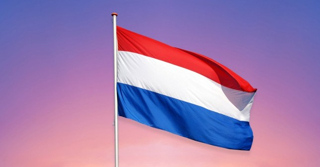 the netherlands flag on a colourful background