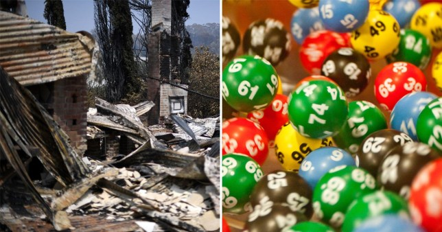 A burnt house after a bushfire in Batlow, in Australia's New South Wales state on January 8, 2020 (left) and lottery balls (right)