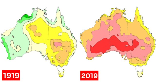 This diagram shows how Australia\'s temperatures have risen over the last 100 years