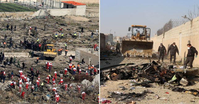 Bulldozers at crash site of Ukranian International Airlines plane shot down outside the Iranian capital of Tehran