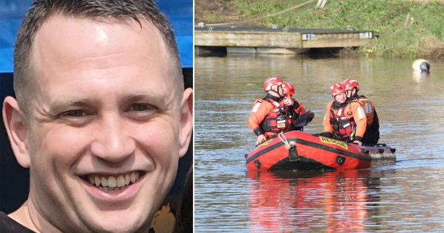 Missing firefighter Anthony Knott (left) and picture of search and rescue team in river