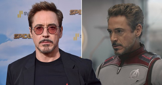 Robert Downey Jr and a still of him as Iron Man in Avengers: Endgame