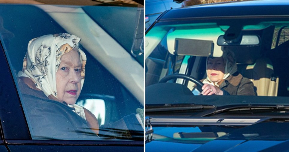 Queen Elizabeth II was driving without a seatbelt yesterday afternoon (Picture: Geoff Robinson)