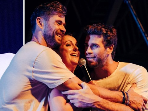 Celeste Barber gets in the middle of a Hemsworth sandwich at bushfire fundraiser as Chris and Liam lend their support