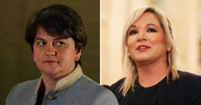 DUP leader Arlene Foster (L) has been appointed as first minister while Republican Sinn Fein's Michelle O'Neill will serve as her deputy. (Picture: PA)