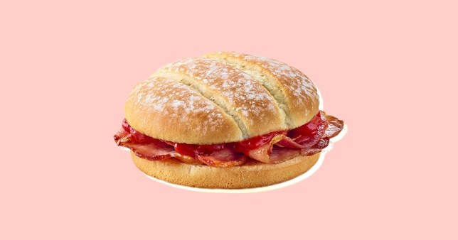 a mcdonalds bacon butties on a pink background
