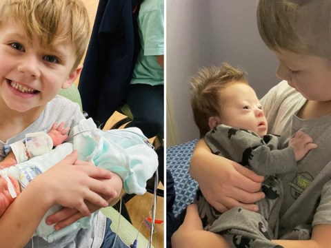 Adorable six-year-old sings Justin Bieber to newborn brother with Down's syndrome