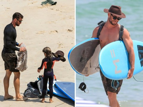 Chris Hemsworth wins the award for coolest dad ever as he takes daughter India surfing in Byron Bay