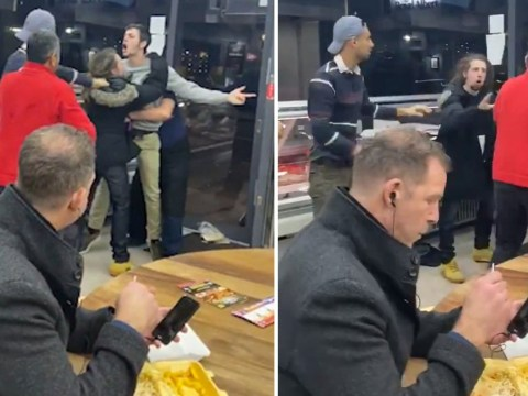 Man doesn't let fight in kebab shop stop him enjoying his chips