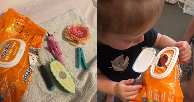 Mum shares brilliant hack with baby wipe container to keep 'wriggly' toddlers busy