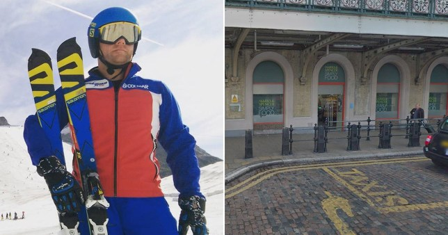 Blind Paralympic British skiing champion John Dickinson-Lilley and picture of M&S shop at Charring Cross where staff challenged him on his guide dog