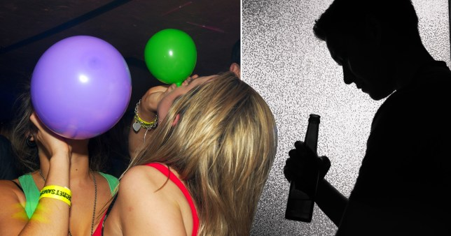 Picture of women inhaling laughing gas balloons (left) and shadowy outline of man drinking bottle of alcohol