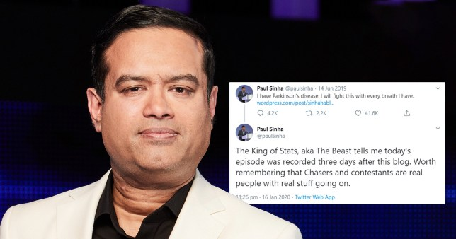 The Chase star Paul Sinha reveals £80K defeat was filmed three days after announcing Parkinson's disease as he hits back at trolls