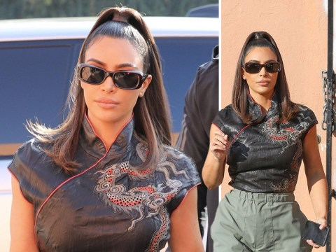 Kim Kardashian serves us some serious Nineties glam as she catches up with sister Khloe over lunch