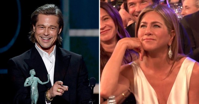 Jennifer Aniston's reaction to Brad Pitt joking about 'not getting on with wife' is everything