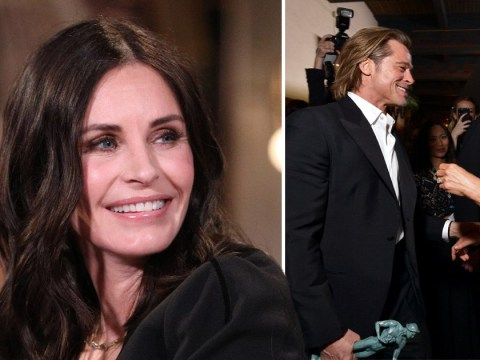 Courteney Cox is loving the Brad Pitt and Jennifer Aniston reunion at the SAG Awards just as much as the rest of us