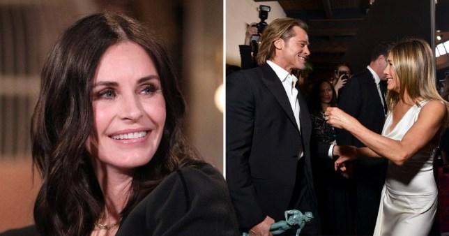 Courteney Cox and Brad Pitt and Jennifer Aniston