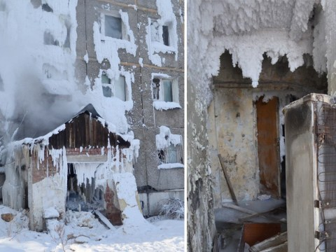 Russian housing block freezes in -14C after heating pipe collapses