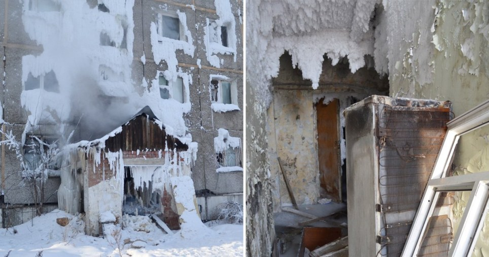 Residents say the landlord has neglected the building to the point where it has completely frozen over (Picture: Getty)