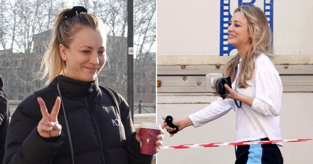 Kaley Cuoco is one happy girl with her cup of coffee while filming The Flight Attendant in Rome
