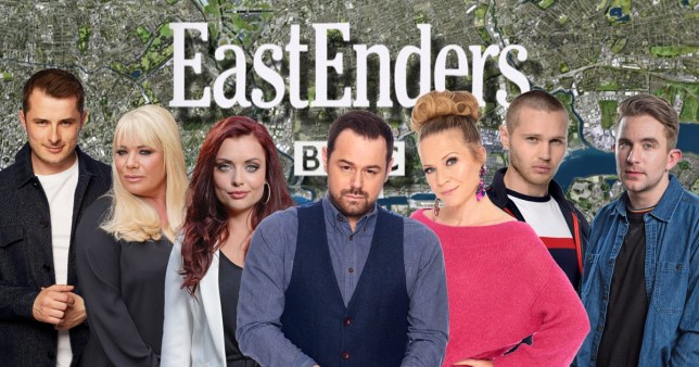 Linda Carter, Mick Carter, Ben Mitchell, Callum Highway, Sharon Mitchell, Keanu Taylor and Whitney Dean in EastEnders