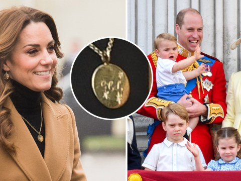 Kate wears necklace engraved for George, Charlotte and Louis on childhood mission