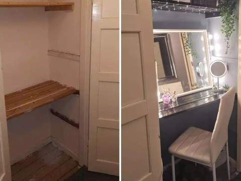 Woman transforms hallway cupboard into amazing beauty room for £5