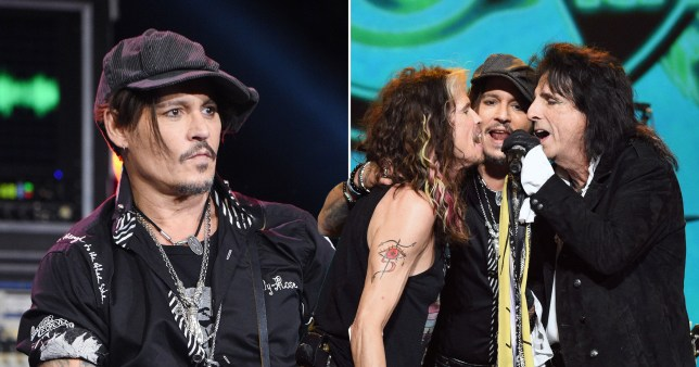 Johnny Depp and Alice Cooper join Aerosmith on stage to form impromptu rock and roll supergroup