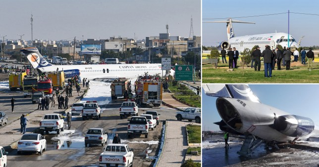 Plane carrying 144 people skids off runway and into the street in Iran