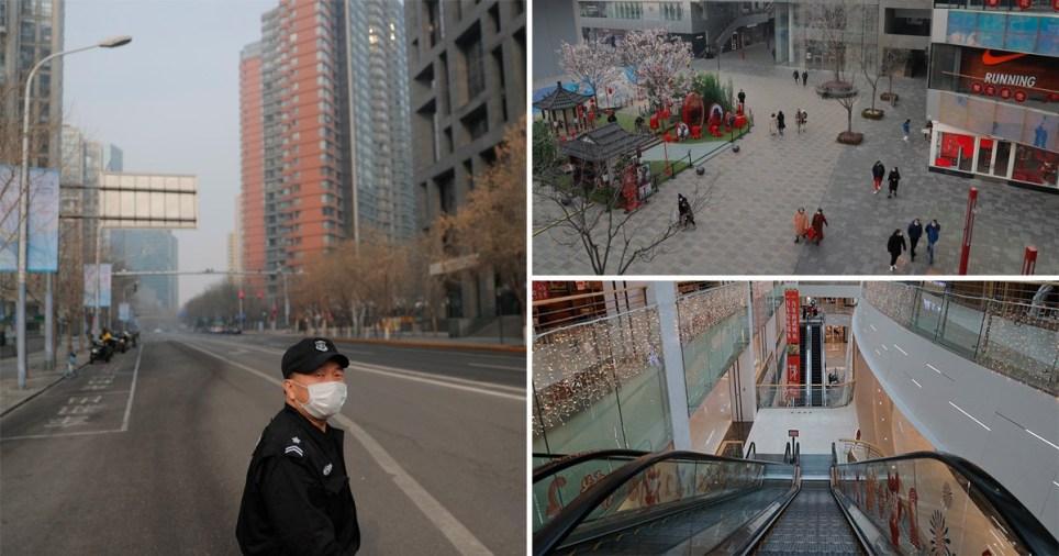 Beijing and Wuhan empty streets as coronavirus spreads across China