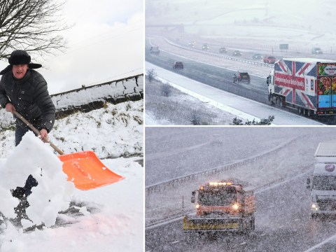 Snowy scenes across UK lead to several crashes and motorway standstills
