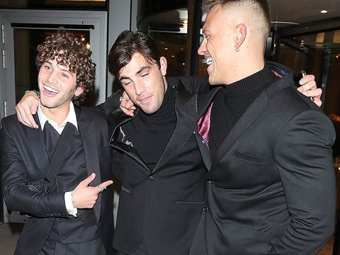 New dad Jack Fincham celebrates with pals Eyal Booker and Alex Bowen while leaving NTA afterparty