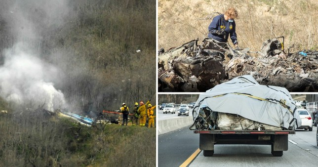 Firefighters work the scene of the helicopter crash that killed NBA star Kobe Bryant and eight others