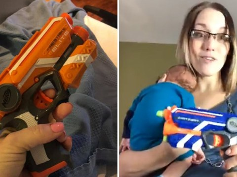 Mum takes Nerf gun to hospital in case husband falls asleep during labour
