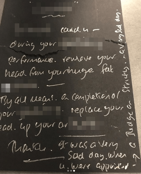 Shirley Ballas abusive letter