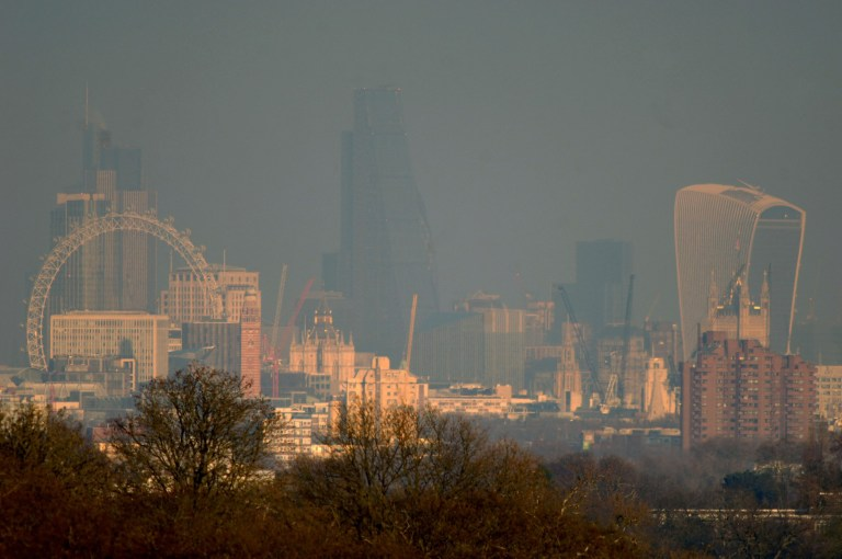 Mandatory Credit: Photo by Gill Allen/REX (5550938a) London's city skyline surrounded by smog as viewed from Richmond Park Air pollution in London, Britain - 21 Jan 2016 London continues to breach EU limits on acceptable NO2 (Nitrogen Dioxide) levels. In April 2015, the UK Supreme Court ordered the UK Government to tackle high levels of air pollution.Photo by Gill Allen
