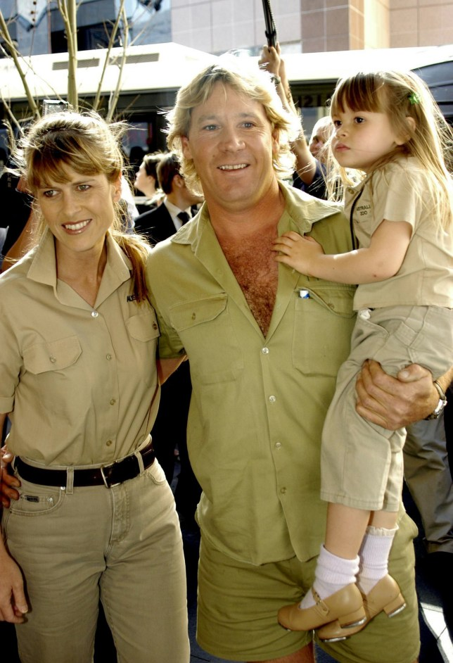 **FILE** A July 7, 2002 file photo of Steve Irwin with wife Terri and daughter Bindi-Sue at the opening of their new film The Crocodile Hunter at George Street, Sydney. Irwin, 44, has died, Monday, Sept. 4, 2006, in a marine accident while filming an underwater documentary off Port Douglas, his body has been flown to Cairns. (AAP Image/Jamie Fawcett) NO ARCHIVING, INTL OUT
