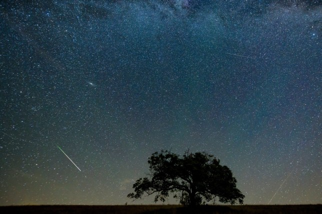 A meteor streaks through the sky above the village of Hajnacka, or Ajnacsko in Hungarian, Slovakia
