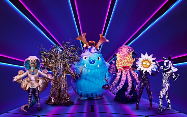 Undated handout photo issued by ITV of Pharaoh, Tree, Monster, Octopus, Daisy and Fox from the new show The Masked Singer which debuts on Saturday night. PA Photo. Issue date: Friday January 3, 2020. The Masked Singer, which has an all-star panel comprised of TV presenters Jonathan Ross and Davina McCall, singer and former X Factor judge Rita Ora and The Hangover star Ken Jeong, will be battling the BBC's The Greatest Dancer on Saturday as they both air at 7pm. See PA story SHOWBIZ TVPreview. Photo credit should read: Vincent Dolman/ITV/PA Wire NOTE TO EDITORS: This handout photo may only be used in for editorial reporting purposes for the contemporaneous illustration of events, things or the people in the image or facts mentioned in the caption. Reuse of the picture may require further permission from the copyright holder.